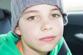 Closeup of cute young eleven years boy — Stock Photo