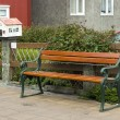 Wooden bench in along the street, Reykjavik — Stock Photo