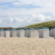 Beach huts along the North Sea in the Netherlands — Stock Photo