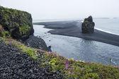 Czarnym wulkanicznym piaskiem na południowym wybrzeżu islandii — Zdjęcie stockowe