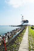 The road to lighthouse, Marken, the Netherlands — Stock Photo