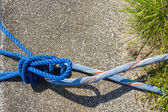 Blue Rope And Knot On asphalt Background — Stock Photo