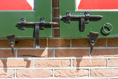 Close-up shot of a latches on a wooden Dutch doors — 图库照片