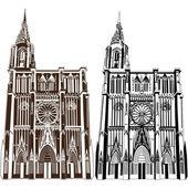 ノートルダム大聖堂 de ストラスブール — ストックベクタ