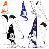 Kite and Wind Surfers — Stock Vector