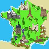 Karta över Frankrike — Stockvektor