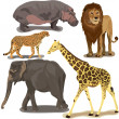 Set With African Animals — Stock vektor