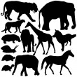Silhouettes of animals — Stock Vector #37708319