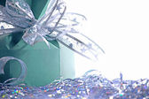 Christmas background with gift box — Stock Photo