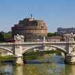 Stock Photo: Bridge over river Tiber in Rome