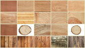 Collage of textures of wood — Stock Photo