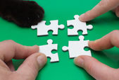 Three and cat with puzzle — Stock Photo