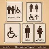 Restroom Signs Vector Collection — Stock Vector