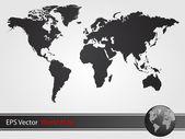 Black World Map Illustration — Stock Vector