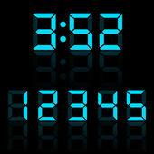 Blue clock digits vector illustration — Stock Vector