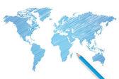 Вектор карта мира цветной карандаш — Cтоковый вектор