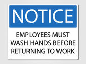 Employees must wash hands sign — Stock Vector