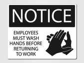 Employees must wash vector sign — Stock Vector