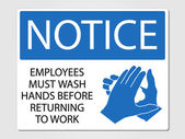 Employees wash hands sign — Stock Vector