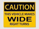 Caution wide turns sign — Stock Vector