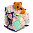 Teddy Bear Rag Quilt — Stock Photo