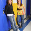 Classmates in School Hallway - Stock Photo