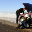 Stock Photo: Winter Car Breakdown