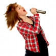 Country Western Girl Singing Into Microphone - Stock Photo