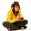 Teenage Girl Playing Video Game - Stock Photo