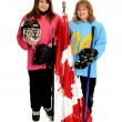 Happy Tween Ringette Playing Canadian Girls — Stock Photo