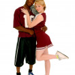Football Player and Cheerleader Couple — Stock Photo