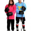 Stock Photo: Teenage Ringette and Hockey Players