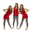 Stock Photo: Smiling Hip Hop Girls in Red