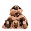 Pile of Dancers Bodies in Modern Pyramid Staircase — ストック写真