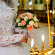 The bride on ceremony of wedding - internal church — Stock Photo