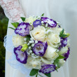 Wedding bouquet of blue and white flowers — Stock Photo #15766383
