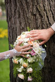Wedding bouquet of pink and white flowers — Stock Photo