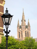 Sunny view of The old church of Amsterdam — Stock Photo