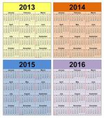 Calendar years 2013 -2020 — Stock Photo