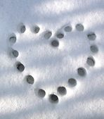 Heart on snow trail — Stock Photo