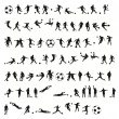 Football silhouettes vector — Stock Vector