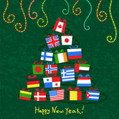 Background with a Christmas tree of Gifts from around the world — Stock Vector