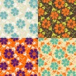 Set of Seamless vintage pattern. Retro style. Cute flowers — Stock Vector
