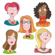 Stock Vector: Hand-drawn color doodles with girls set cartoon face