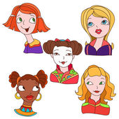 Hand-drawn color doodles with girls set cartoon face 2 — Stock Vector