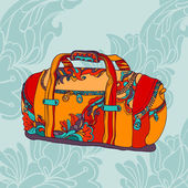 Travel bag on blue ornamental background — Stock Vector