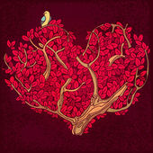 Heart of twigs and leaves with bird — Vector de stock