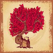 Retro tree tattoo crown — Stock Vector