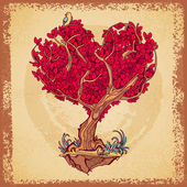 Stylized tree retro tattoo crown in the shape of heart — Vector de stock