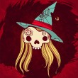 Illustration of skull with blond hair and a hallowen hat on grun — ベクター素材ストック
